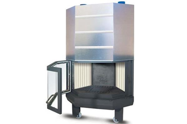 Ενεργειακό τζάκι αερόθερμο Superkamin Sener 900 R πολύγωνο ανοιχτό προς τα έξω