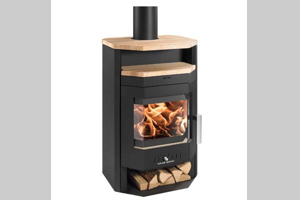 Ενεργειακή σόμπα ξύλου AARHUS II χρώμα μαύρο και πέτρα sandstone