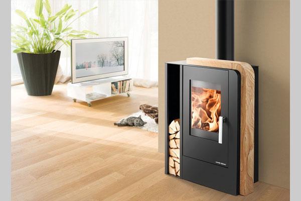 Ενεργειακή σόμπα ξύλου ARUBA EASY χρώμα μαύρο πέτρα woodstone