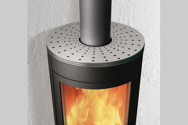 Λεπτομέρεια ενεργειακής σόμπας ξύλου Edilkamin ROLLER