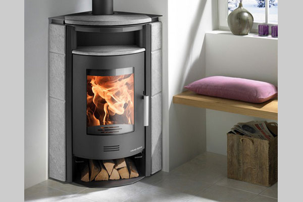 energy save wood stove KUOPIO II gray color and stone serpantino 1