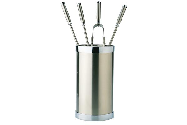 Κουβαδάκι τζακιού με εργαλεία 1200-K10 Νίκελ ματ / χρώμιο