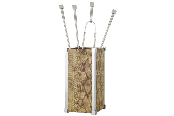 Κουβαδάκι τζακιού με εργαλεία 1220-K22 Δέρμα Πύθωνα / χρώμιο