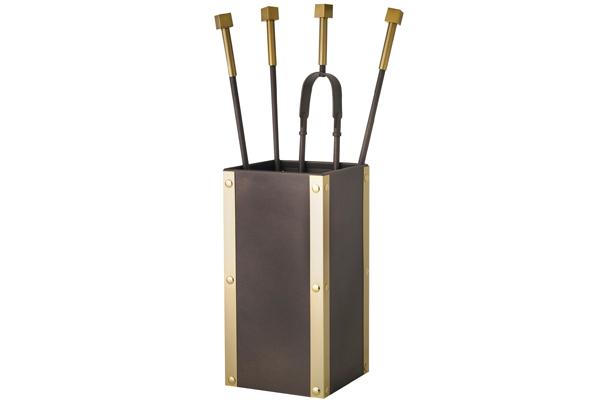 Κουβαδάκι τζακιού με εργαλεία 1220-K26 Όρο ματ / Αντικέ σκουριά