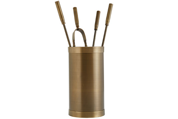 Fireplace accessories bucket with tools Κ10 - 1200 bronze
