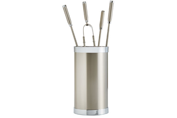 Fireplace accessories bucket with tools Κ10 - 1200 nickel mat - chrome