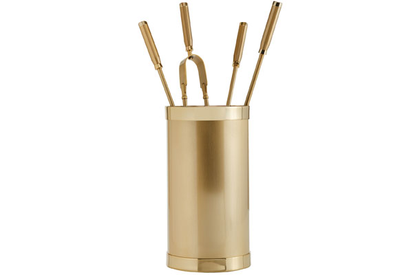 Fireplace accessories bucket with tools Κ10 - 1200 oro mat - oro