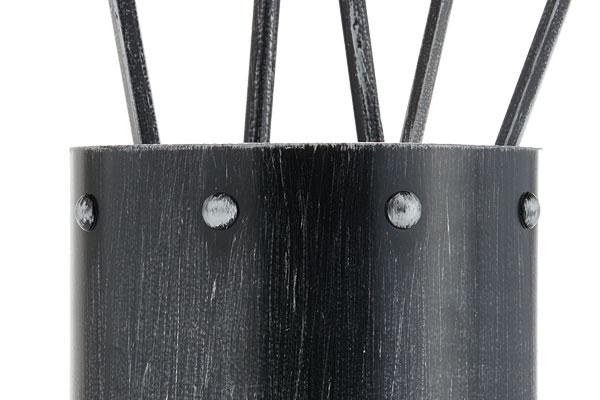 Κουβαδάκι τζακιού με εργαλεία Κ05-0671 μαύρο ασημί πατίνα λεπτομέρεια