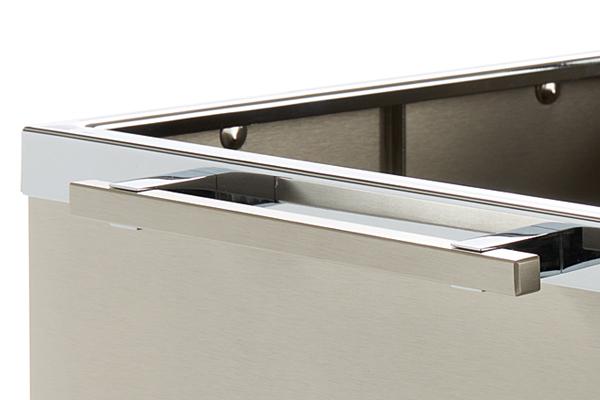 Ξυλιέρα τζακιού K14/P Νίκελ ματ - χρώμιο με ροδάκια λεπτομέρεια
