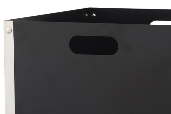 Ξυλιέρα τζακιού Κ31 μαύρο - νίκελ ματ λεπτομέρεια