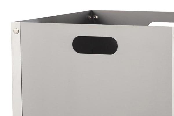 Ξυλιέρα τζακιού Κ31 νίκελ ματ - χρώμιο λεπτομέρεια