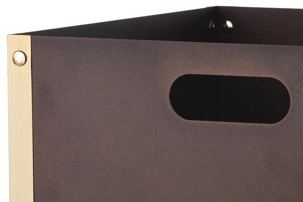 Ξυλιέρα τζακιού Κ31 αντικέ σκουριά - όρο ματ λεπτομέρεια