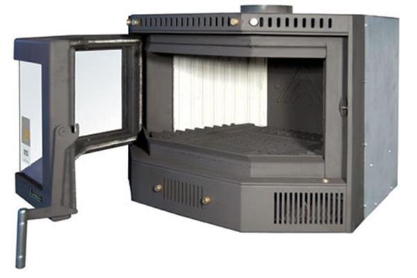 Ενεργειακή κασέτα αερόθερμη Superkamin Sener 80 πολύγωνη πλαϊνή όψη με ανοιχτή πόρτα