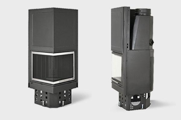 Ενεργειακό τζάκι Quattro QL 500 πλαϊνή όψη και σε ΙΝΟΧ