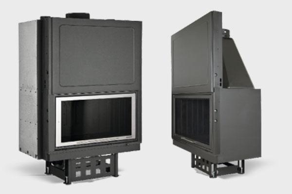 Ενεργειακό τζάκι Plano EF 1210 πλαϊνή όψη και σε ΙΝΟΧ