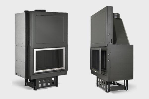 Ενεργειακό τζάκι Plano EF 910 πλαϊνή όψη και σε ΙΝΟΧ