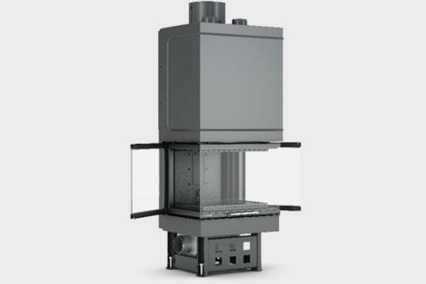 Ενεργειακό τζάκι TF 600 B τρίφατσο της CAMINODESIGN ανοιχτό