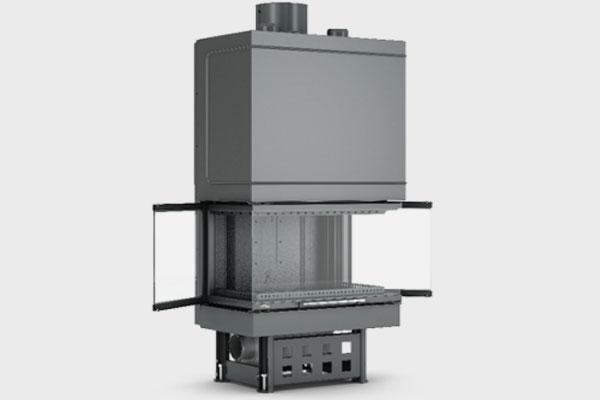 Ενεργειακό τζάκι TF 800 B τρίφατσο της CAMINODESIGN ανοιχτό