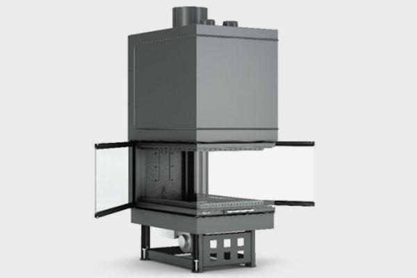 Ενεργειακό τζάκι TF 600x900 B τρίφατσο της CAMINODESIGN ανοιχτό