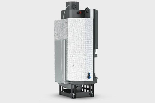Ενεργειακό τζάκι PRISMA  PF 880 IDRO πολύγωνο της CAMINODESIGN πίσω όψη