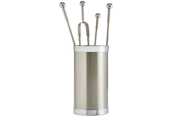 Fireplace accessories bucket with tools Κ10 - 1150 nickel mat - chrome