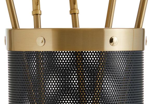 Κουβαδάκι τζακιού με εργαλεία Κ16-1150 Μαύρο - Όρο ματ λεπτομέρεια