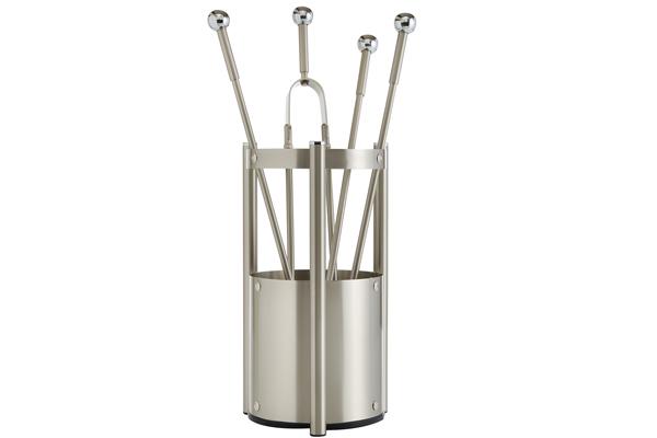Κουβαδάκι τζακιού με εργαλεία Κ27-1150 Νίκελ ματ - χρώμιο