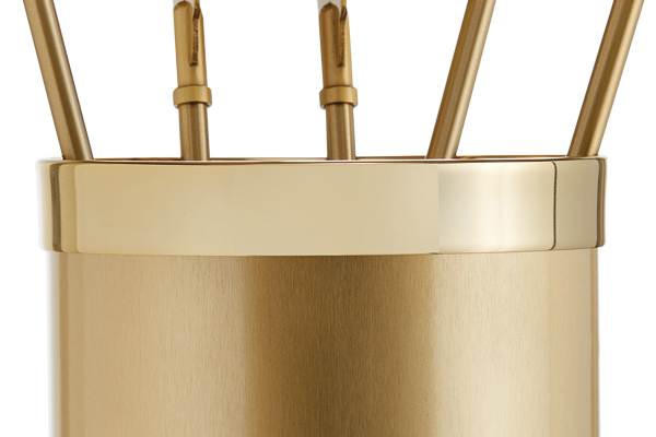 Fireplace accessories bucket with tools Κ10 - 1190 oro mat - oro details