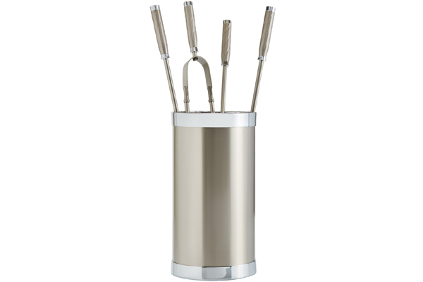 Fireplace accessories bucket with tools Κ10 - 1195 nickel mat - chrome