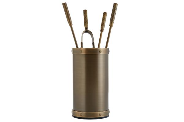 Κουβαδάκι τζακιού με εργαλεία Κ02-1195 Μπρονζέ