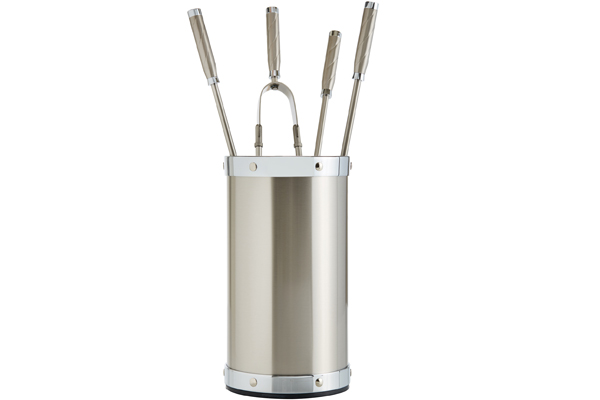 Fireplace accessories bucket with tools Κ02 - 1195 nickel mat - chrome details