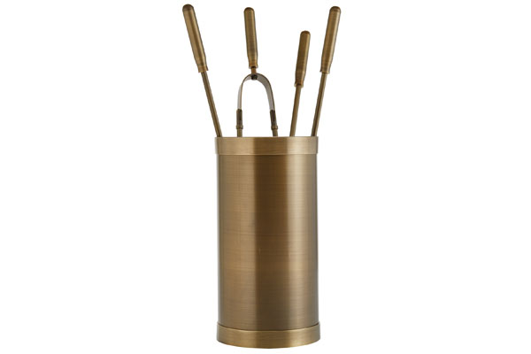 Fireplace accessories bucket with tools Κ10 - 1205 bronze