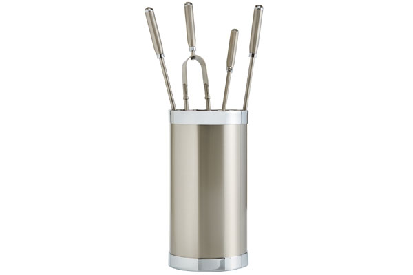 Fireplace accessories bucket with tools Κ10 - 1205 nickel mat - chrome