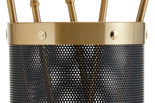 Κουβαδάκι τζακιού με εργαλεία Κ16 - 1205 Μαύρο - Όρο ματ λεπτομέρεια