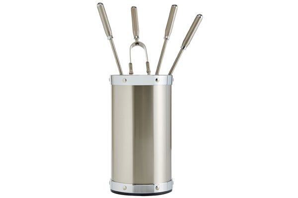 Fireplace accessories bucket with tools Κ02 - 1205 nickel mat - chrome details