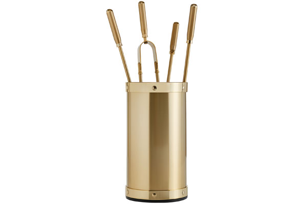 Fireplace accessories bucket with tools Κ02 - 1205 oro mat - oro