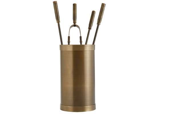 Fireplace accessories bucket with tools Κ10 - 1210 bronze