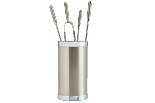Fireplace accessories bucket with tools Κ10 - 1210 nickel mat - chrome