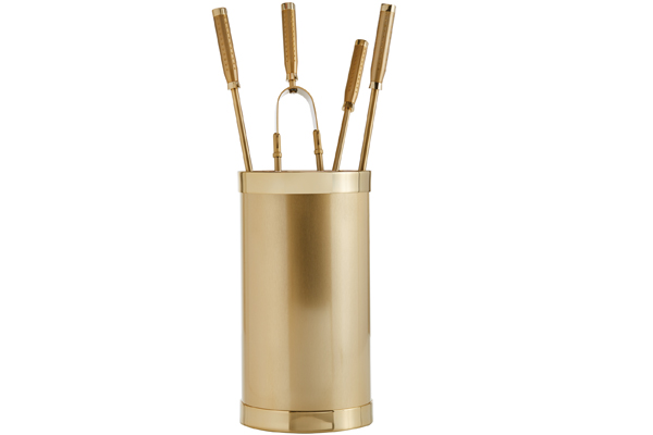 Fireplace accessories bucket with tools Κ10 - 1210 oro mat - oro