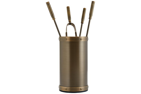 Fireplace accessories bucket with tools Κ02 - 1210 bronze