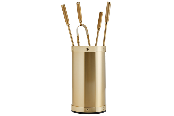 Fireplace accessories bucket with tools Κ02 - 1210 oro mat - oro