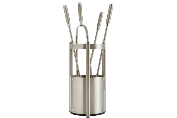 Fireplace accessories bucket with tools Κ27 - 1210 nickel mat - chrome