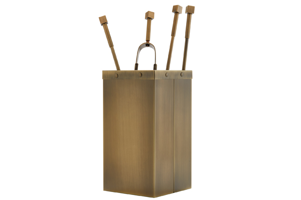 Fireplace accessories bucket with tools Κ12 - 1220 bronze