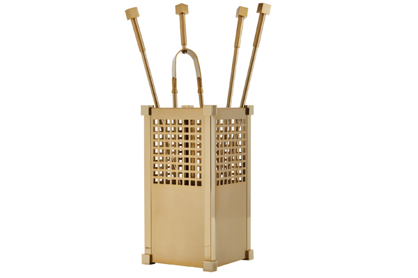Fireplace accessories bucket with tools Κ25 - 1220 oro mat - oro