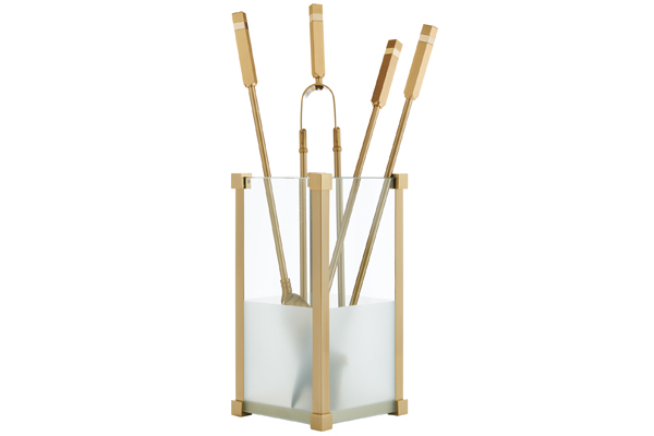 Fireplace accessories bucket with tools Κ20 - 1225 oro mat - oro