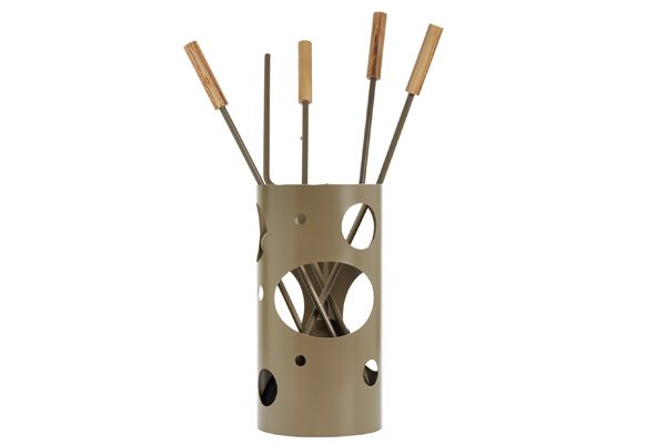 Fireplace accessories bucket with tools K30-1240 Olive Brown